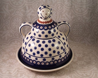 Vintage Polish Pottery Cheese Lady - Boleslawiec Pottery - Butter or Cheese Dome with Plate