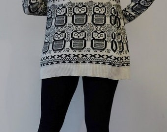 Vintage 80s Owl open front Cardigan
