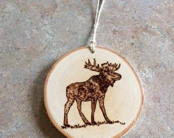 Moose Ornament, Woodburned Maine Ornament, Woodburned Moose Ornament, Made in Maine Ornament, Birch Ornament, Rustic Ornament