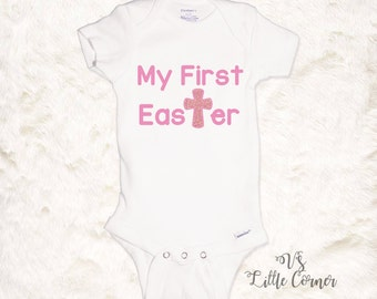 Baby Girl First Easter Outfit Onesie or Toddler Shirt Baby Girls Clothing Baby's First Easter Girls Easter Shirt Toddler Easter Jesus Cross