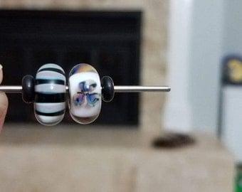 Authentic Trollbeads Desert Flower & Khaki Stripe Beads