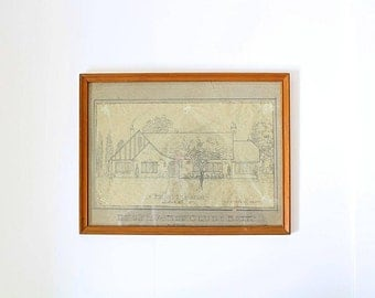 Vintage Original Architectural Drawing | House with Blueprint | Original Blueprint | Framed Drawing | Original Construction | 1945 Design