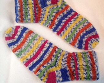 Colorful striped knit socks