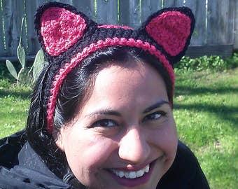 Kitty cat headband/ earwarmer