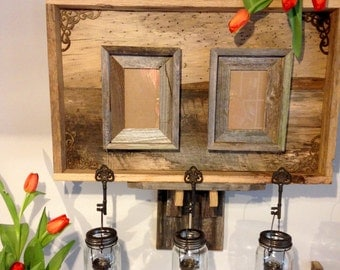 Rustic Reclaimed Wood Wall Decor, Rustic Picture Frame, Hanging Votives, Home Decor, Reclaimed Wood And Keys