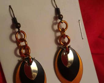 Harvest/Black/Silver 3 Graduated Scale Earrings