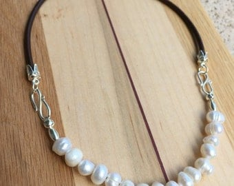 Leather Choker with Freshwater Pearls, 3mm wide dark brown leather and Sterling Silver Bib Style Necklace, Boho chic, trendy