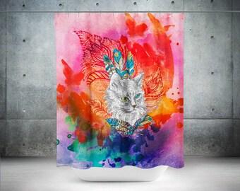 Watercolor Shower Curtain, Boho Curtain, Shower Curtain, Bohemian Shower Curtain, Hippie Shower Curtain, Art Shower Curtain, Bathroom Decor