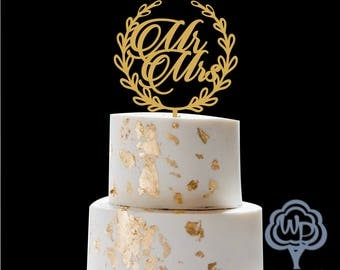 Mr and Mrs Cake Topper Gold Cake Topper Wedding Cake Topper Personalized Cake Topper Rustic Cake Topper Wooden Cake Topper Wood Cake Topper