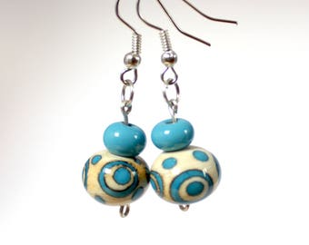 Blue and ivory lampwork beads earrings - Murano glass jewelry