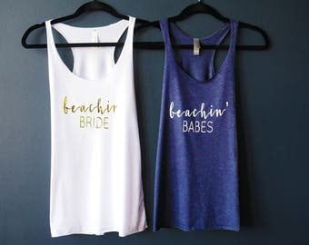Beachin' Bride, Beachin' Babes, Bachelorette Party Tank Top, Bachelorette Party Shirts Beach, Bachelorette Tank Top, Bridesmaid Tank Top,