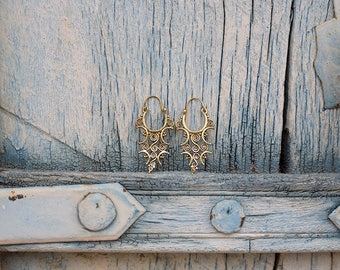 Earrings Brass Geometric Spiral / Boucles d'oreilles spirale