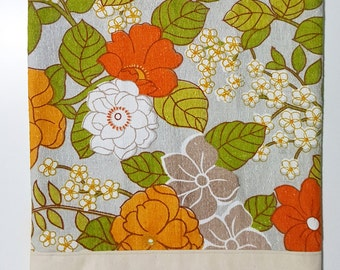Calico Tote Bag with Floral Panel, Reusable Bag, Market Bag, Grocery Bag