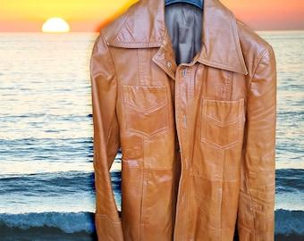 Vintage 70s Tan Leather Jacket