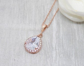 Necklace rose gold Crystal drops wedding bride Bridal jewelry