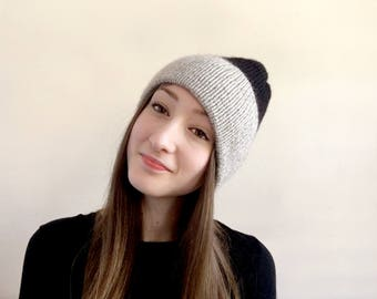 Two Tone Color Block Knit Hat in Black and Sand