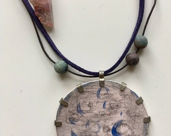 handmade, jewellery, necklace, pendant, ceramic, disk shape, metal, casual, planet, pink, agate
