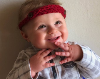 Knit Child's Button Headband; birthday, baby shower, gift for child, gift for baby