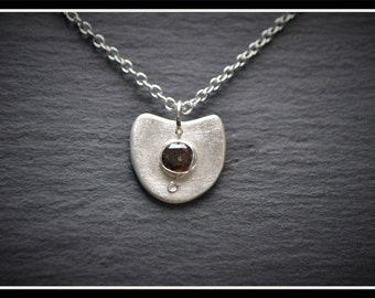 Almost Circle CZ Pendant, Silver Precious Metal Clay (PMC), Handmade, Necklace - (Product Code: ACM001-17)