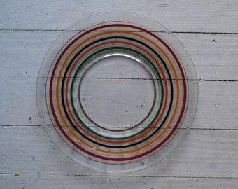 Vintage 1950s rainbow dessert plate