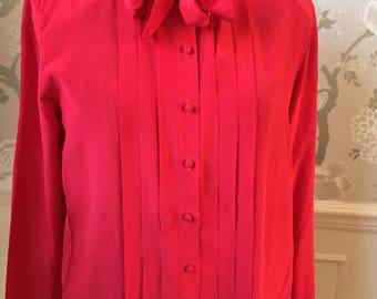 Cardinal Red Vintage Blouse by Oleg Cassini