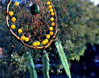 Handmade Natural Wood and Wire Dreamcatcher - Marble Green Glass Beads - Pale Green Jade - Emu Feathers - Suncatcher