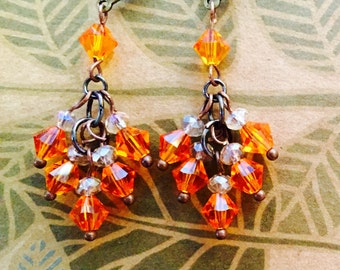 Tangerine cluster earrings SOLD but I can make you a pair.