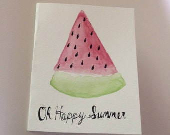 Watercolor Summer Greeting Card | Watermelon