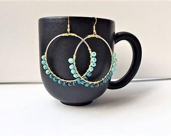 Boho blue ombre wire-wrapped gold -tone hoop earrings