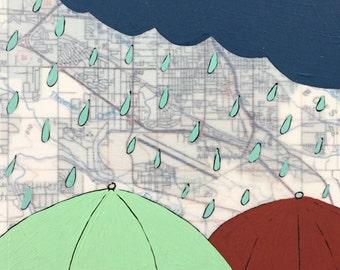 Threemile Creek / 5 x 7 Map Painting / Umbrella Art / Map Art / Modern Decor / NW Art / Rain Art / Rachel Austin / Travel Art