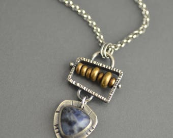 Sodalite Abacus Pendant, sterling silver, mixed metal, industrial, oxidized, steampunk, metalwork, brass, small pendant, blue gemstone