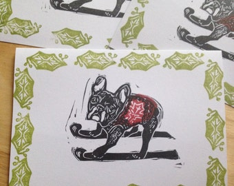French Bull Dog Goes Skiing alternative christmas card hand printed limited edition