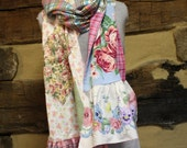 Flannel Scarf Boho Chic Patchwork Pink Plaid Flannel and Floral Shabby Tattered Style Hippie Clothes