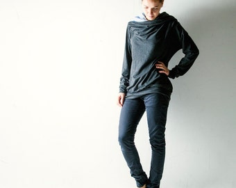 Cotton Sweatshirt, Jersey top, Cotton Sweater, Long sleeve top, Cowl top, Plus size top, Dolman top, Maternity top, Women clothes, Hipster