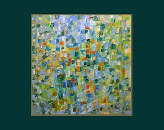 Abstract oil painting, colourist, square, bright, green, blue, orange, yellow, 16 x 16