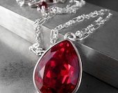 Deep Red Swarovski Crystal Necklace, Red Siam Teardrop Crystal Pendant, Sterling Silver Chain, Valentines Day Gift Jewelry, Valentine Gift
