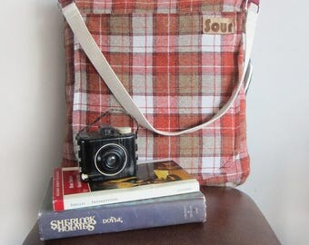 Into The Wind // Red Rust, Burgundy and Cream Tartan Shoulder Bag with cotton webbing strap.
