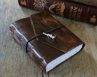 """Leather Journal . """"I wish I could write as mysterious as a cat"""" -Edgar Allan Poe . handbound . tan (320 pgs)"""