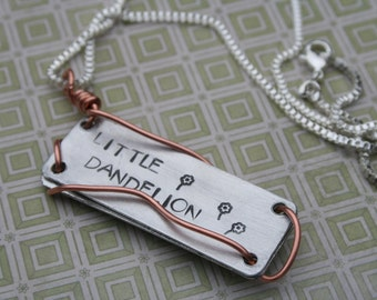 2-sided Dandelion lyrics Audioslave hand-stamped copper necklace