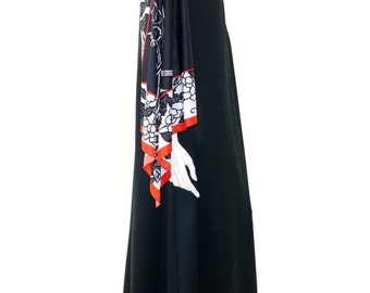 Vintage Black and White Floral Maxi Dress// Vintage 80's Long Dress //Flowers Mod Modern Women's Floor Length Dress// 122