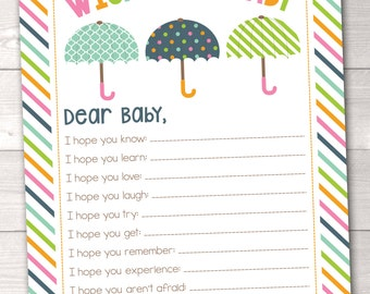 Instant Download Baby Wishes Card Printable PDF with Colorful Umbrellas and Stripes
