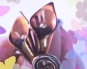 RING, Adjustable, COPPER Vintage Lily design, 1950's, Flowers