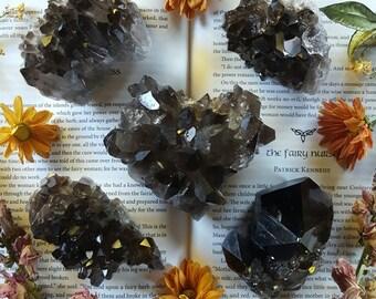 Smoky Quartz Cluster - Smokey Quartz Crystal - Natural Heart Shape Dark Smokey Quartz Cluster - Large Smoky Quartz Cluster - Dark Quartz