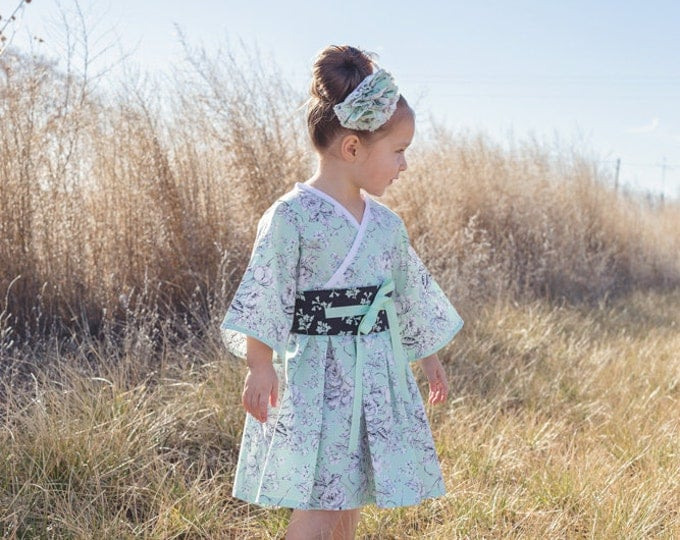 Girls Twirl Dress - Kimono Dress - Toddler Dress - Baby Girl Dress - Twirly Dress - Long Sleeve Dress - Little Girl sizes 2t to 14 yrs