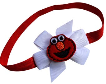 Elmo Headband Featuring Embroidered Appliqué Elastic Headband for Babies and Toddlers and Pre Schoolers - 2 Sizes Available