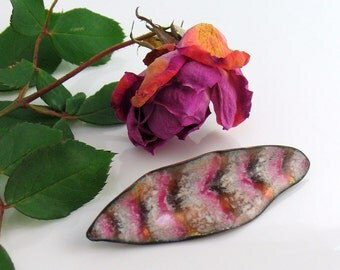 Copper Enameled Brooch, Handmade Feather Pin with Vitreous Enamel, Pink Chevron Striped Copper Enameled Pin, WillOaks Studio Art Pins