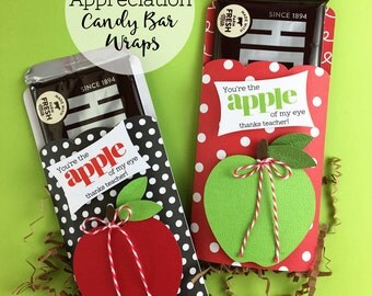 KIT Teacher Apprecation /Candy Bar Wraps / Hershey Chocolate Bar / Gifts for Teacher / Apple of my Eye  /Thanks Teacher