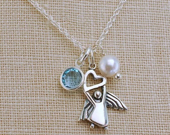 Guardian Angel Necklace, Communion Gift, Confirmation Gift, Silver Guardian Angel personalized Birthstone, Angel Jewelry