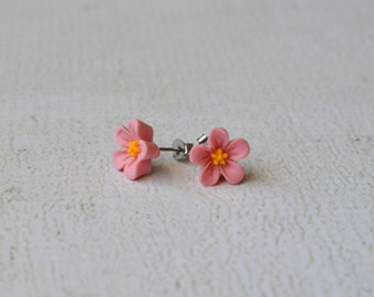 Pink Hibiscus Earring Studs- Titanium Hibiscus Flower Earrings- Tropical Earrings- Pale Pink Flower Earrings- Summer Jewelry- Pink Earrings