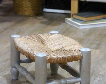 Vintage rush stool, hand turned wood, sun bleached beach house furniture, early 1900's